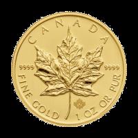 Moneda de Oro Hoja de Arce Canadiense Año Aleatorio de 1 oz