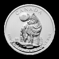 1 oz Silbermünze kanadischer Timberwolf 2011 | Verfärbt und fleckig