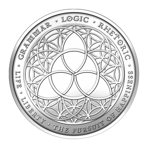 Trivium symbol placed on a Flower of Life pattern - Grammar - Logic - Rhetoric - Life - Liberty and the Pursuit of Happiness