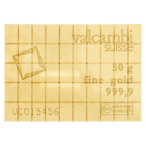 Valcambi Suisse - 50 g - fine gold 999,9 - Essayeur Fondeur CHI - Valcambi logo
