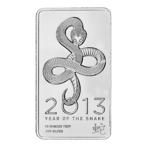 Snake - 2013 - Year of the Snake - 10 ounces troy - 999 silver - Chinese symbol for snake