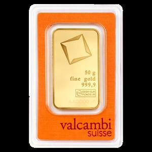 Barra de Oro Valcambi de 50 gramos