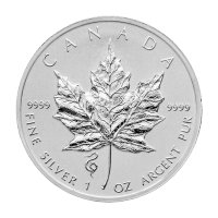 1 oz 2013 Canadian Maple Leaf Year of the Snake Privy Silver Coin
