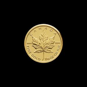 Moneda de Oro Hoja de Arce Canadiense Año Aleatorio de 1/10 oz