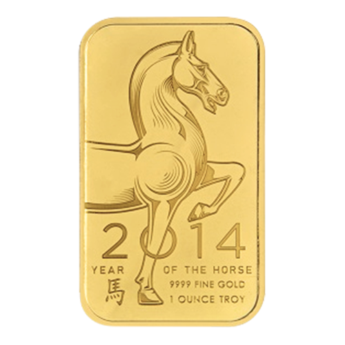 1 oz 2014 Ohio Precious Metals Year of the Horse Gold Wafer Bar