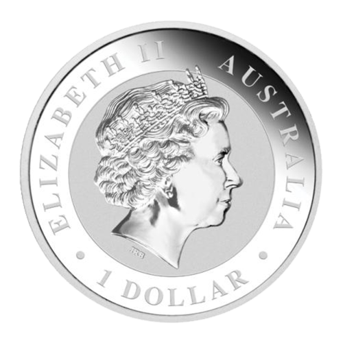 "Bust of an adult koala and a spray of gum leaves and the words ""Australian Koala 2014 1 oz 999 Silver"""