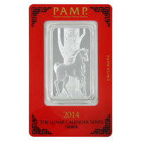 1 oz 2014 PAMP Suisse Year of the Horse Silver Wafer Bar