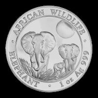 1 oz 2014 Somalian African Elephant Zilveren Munt