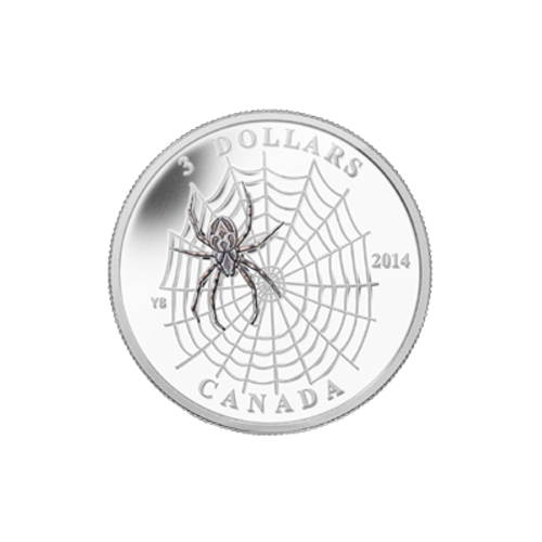 """A painted specimen of an orb-weaving spider viewed from above sitting on its orb shaped web and the words """"3 Dollars 2014 Canada"""""""