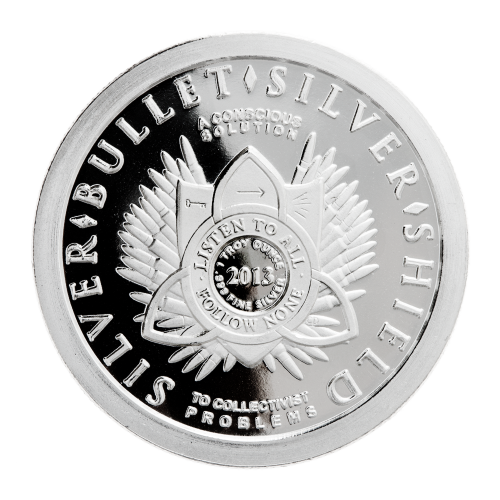 1 oz - .999 Fine Ag - Listen to All - Follow None - Shield - 2013 - Pattern of 47 bullets - Silver - Bullet - Silver - Shield - To Collectivist Problems - A Conscious Solution - Trivium symbol - Key - Arrow - 5 exploding lines
