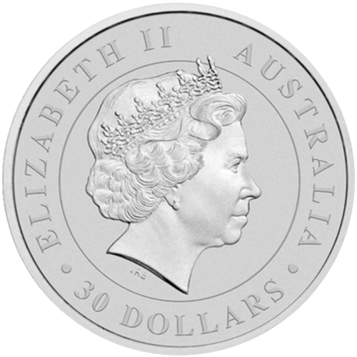 "Bust of an adult koala and a sprig of gum leaves and the words ""Australian Koala 2014 1kg 999 Silver"""