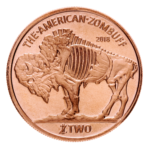 "The Zombified profile of the Black Diamond Buffalo from the iconic buffalo round with the inscription above and below of ""The American Zombuff 2018 TWO Zombucks™ ""."