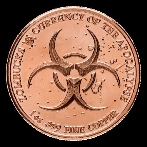 Biohazard symbool - Zombucks - 1 oz .999 fijn Koper - Valuta van de Apocalyps  - Provident Metals kompaslogo