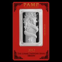 Barra de Plata Año del Dragón PAMP Suisse 2012 de 1 oz