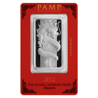 1 oz 2012 PAMP Suisse Year of the Dragon Silver Wafer Bar