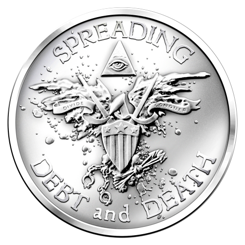Spreading Debt and Death - Eagle representation made of a shield, propaganda drone, blood splatter, holding arrows of death and shackles - Divide and Conquer - All-seeing eye