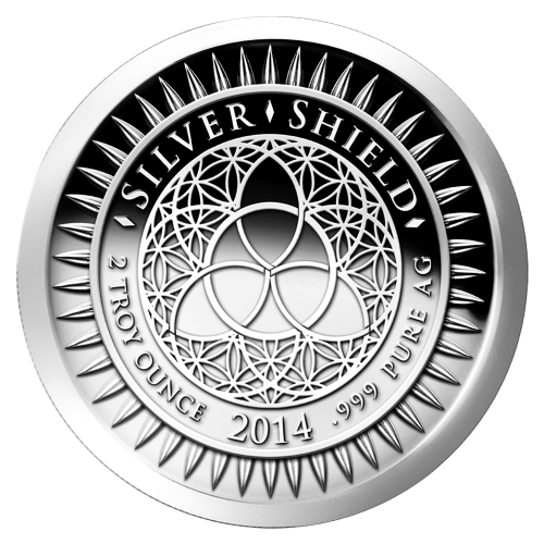 "The revised Silver Shield logo with the trivium in the centre encircled by the words ""Silver Shield 2 Troy ounce 2014 .999 Pure AG"" surrounded by 47 bullets"