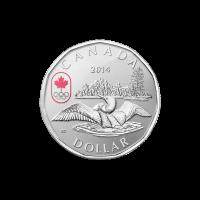 Moneda de Plata Somorgujo Afortunado Canadiense 2014 de 1/4 de oz