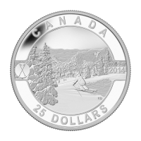 1 oz Silbermünze - O Kanada Serie - auf kanadischen Abhängen Skifahren - 2014