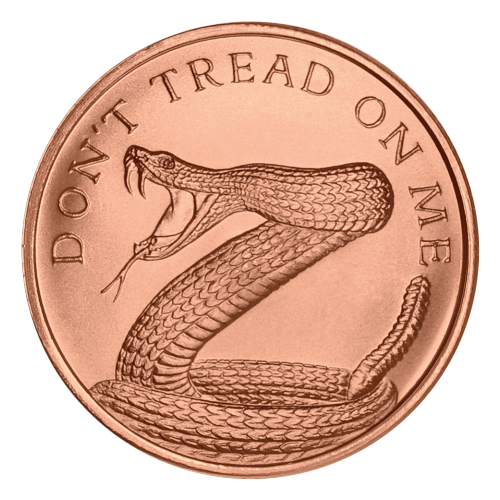 """A coiled rattlesnake, fangs bared, ready to strike and the words """"Don't Tread on Me"""""""