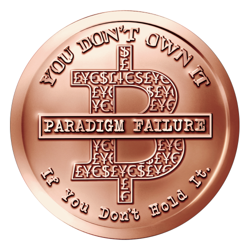 "An outlined B with different monetary symbols inside and the words ""Paradigm Failure"" on top of it encircled by the phrase ""You Don't Own It If you Don't Hold It"""