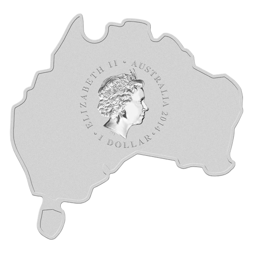"A Koala carrying a baby joey against bush scenery and eucalyptus trees and the words ""Koala 1 oz 999 Silver 2014"" on a coin shaped like the map of Australia"