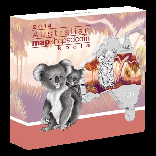 1 oz 2014 Australian Map Shaped Koala Silver Coin