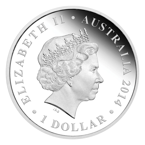 "A Genyornis set against a coloured wilderness background surrounded by the words ""Genyornis 1 oz 999 SILVER"" and the Perth mint mark ""P"""