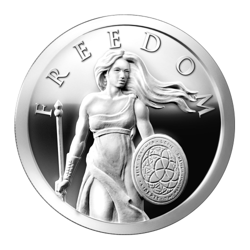 "Lady Freedom with flowing hair in a standing position with a trivium shield and the word ""Freedom"" above her"