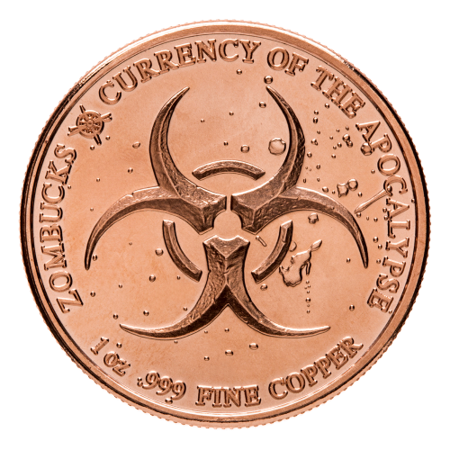 Biohazard symbol - Zombucks - 1 oz .999 fine Copper - Currency of the Apocalypse - Provident Metals compass logo