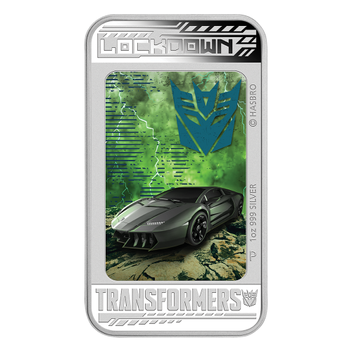 "A coloured portrait depicting Lockdown morphing from a lockdown Supercar to a Decepticon and the words ""Lockdown Transformers 1 oz 999 Silver"", the ""P"" mintmark and copyright notices"