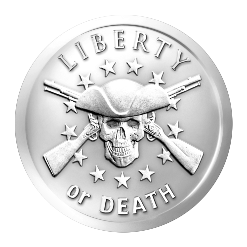 "A skull with two crossed muskets with thirteen stars in the background in a circular pattern and the words ""Liberty or Death"""