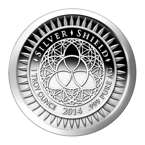 """The revised Silver Shield logo with the trivium in the centre encircled by the words """"Silver Shield 1 Troy ounce 2014 .999 Pure AG"""" surrounded by 47 bullets"""