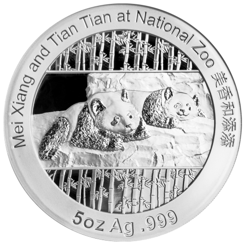 "Pictures of Mei Xiang and Tian Tian at the National Zoo with a bamboo background and the words ""Mei Xiang and Tian Tian at National Zoo 5 oz Ag .999"""