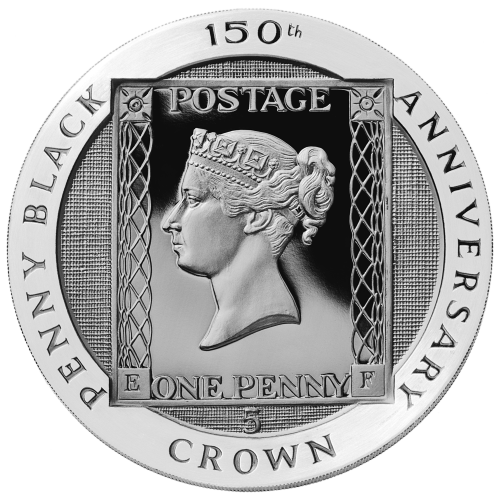 """The design from the Penny Black postage stamp featuring a young Queen Victoria and the words """"Penny Black 150th Anniversary Crown"""" and a linen finish background"""