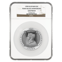 5 oz 1990 Isle of Man Silver Penny Black NGC Gem Proof Silver Coin
