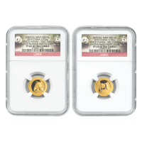 Set of 2 x 1/10 oz 2014 Chinese Panda Smithsonian Institute Proof NGC PF-69 Gouden Munt