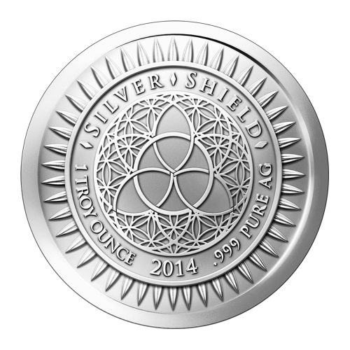 "The revised Silver Shield logo with the trivium in the centre encircled by the words ""Silver Shield 1 Troy ounce 2014 .999 Pure AG"" surrounded by 47 bullets"
