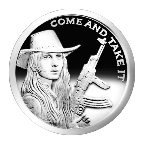 """Freedom Girl with a hat and a gun and the words """"Come and Take It"""""""