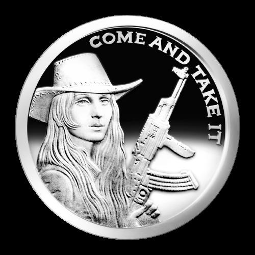"""La Chica de la Libertad con un sombrero y una pistola y las Palabras """"Come and Take It"""""""
