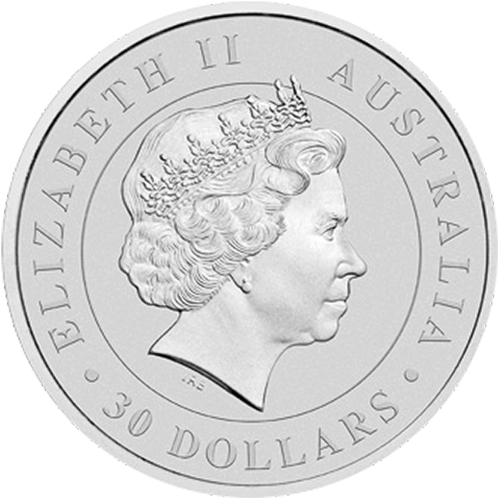 "Figure of an adult koala perched on a limb with a grassy hillside in the background and the words ""Australian Koala 2015 1 kg 999 Silver"" and the Perth Mintmark ""P"""