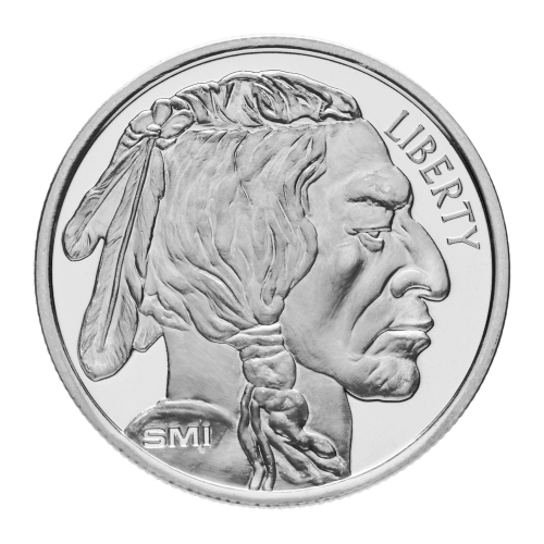 "Indian head with the word ""Liberty"" and the initials ""SMI"""