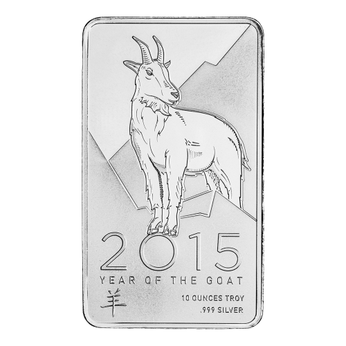 "A goat on a stylized mountain side with the words ""Year of the Goat 10 ounces Troy .999 Silver"" and the Chinese symbol for goat"