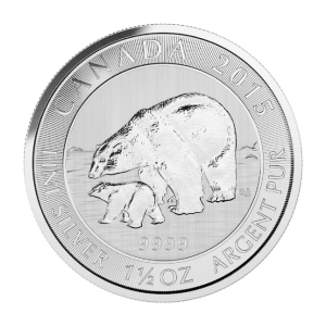 1.5 oz 2015 Canadian Polar Bear and Cub Silver Coin