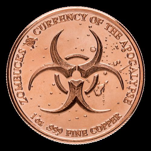Biohazard symbol - Zombucks - 1 oz .999 Fine Copper - Currency of the Apocalypse - Provident Metals compass logo