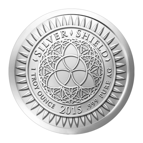 """The revised Silver Shield logo with the trivium in the centre encircled by the words """"Silver Shield 1 Troy ounce 2015 .999 Pure Ag"""" surrounded by 47 bullets"""