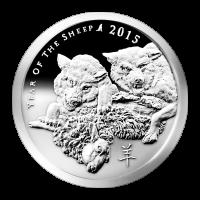 Ronda de plata tipo proof del Año de la Cabra 2015 de Silver Shield de 1 oz