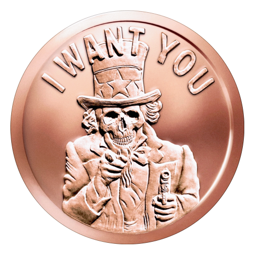 "Uncle Sam in a suit and top hat with a skeletonized face and the historic catchphrase ""I Want You"" and a pistol in one hand"