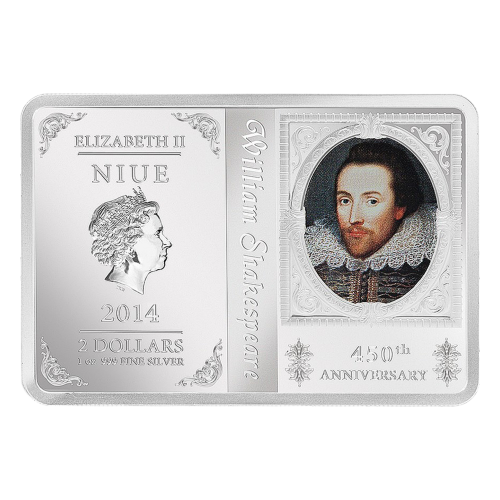 """Queen Elizabeth II effigy by Ian Rank-Broadley and the words """"ELIZABETH II NIUE 2014 2 DOLLARS 1 oz 999 FINE SILVER"""" and the artist's initials. The right side has a colourized portrait of William Shakespeare and the words """"450th Anniversary""""."""