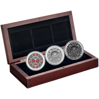 Set of 3 x 1 oz 2015 Singing Moon Mask Coloured Silver Coins